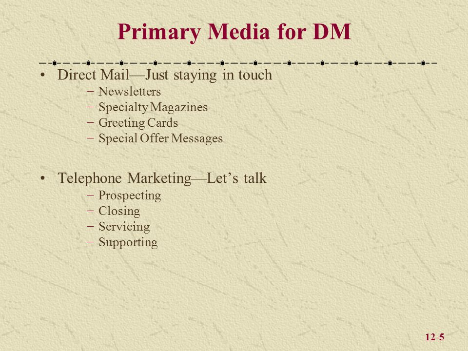 12-5 Primary Media for DM Direct Mail—Just staying in touch −Newsletters −Specialty Magazines −Greeting Cards −Special Offer Messages Telephone Marketing—Let's talk −Prospecting −Closing −Servicing −Supporting