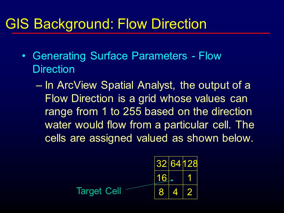 Generating Surface Parameters - Flow Direction –In ArcView Spatial Analyst, the output of a Flow Direction is a grid whose values can range from 1 to