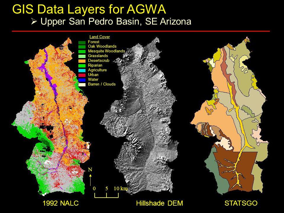 1992 NALC Hillshade DEM STATSGO Forest Oak Woodlands Mesquite Woodlands Grasslands Desertscrub Riparian Agriculture Urban Water Barren / Clouds Land Cover 0 5 10 km N GIS Data Layers for AGWA  Upper San Pedro Basin, SE Arizona