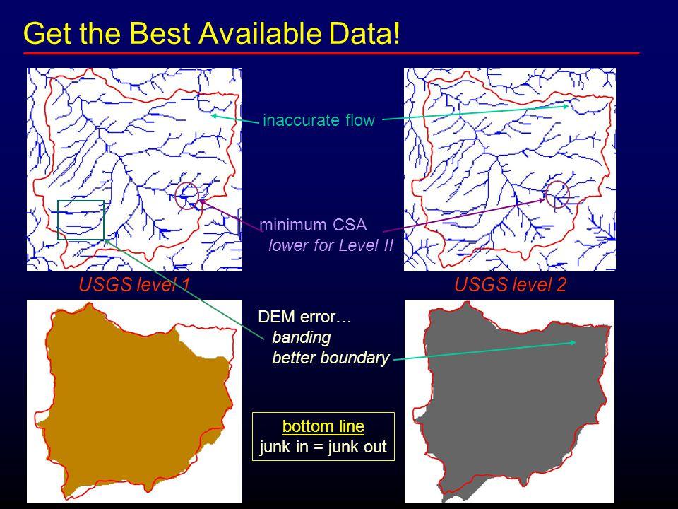 Get the Best Available Data! USGS level 1 USGS level 2 inaccurate flow minimum CSA lower for Level II DEM error… banding better boundary bottom line j