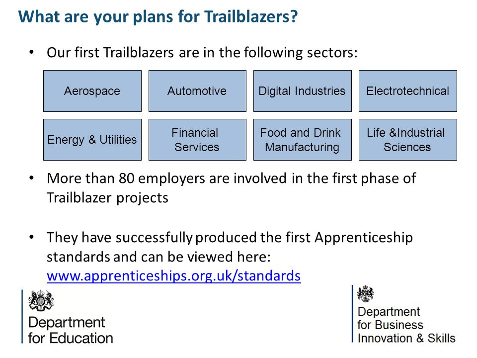 Our first Trailblazers are in the following sectors: More than 80 employers are involved in the first phase of Trailblazer projects They have successf