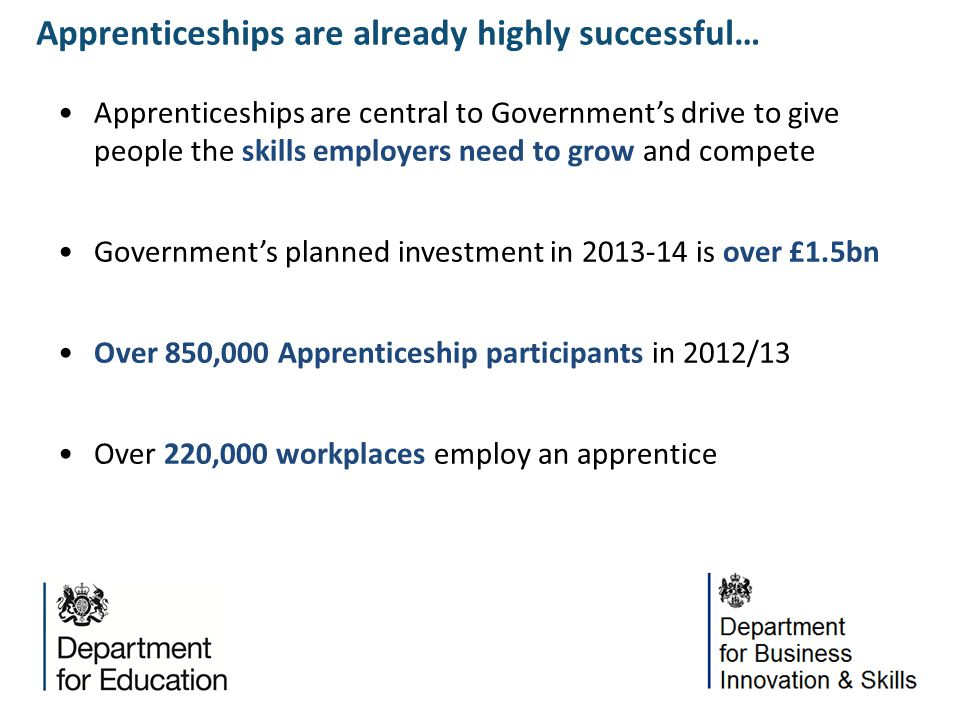 Apprenticeships are central to Government's drive to give people the skills employers need to grow and compete Government's planned investment in 2013