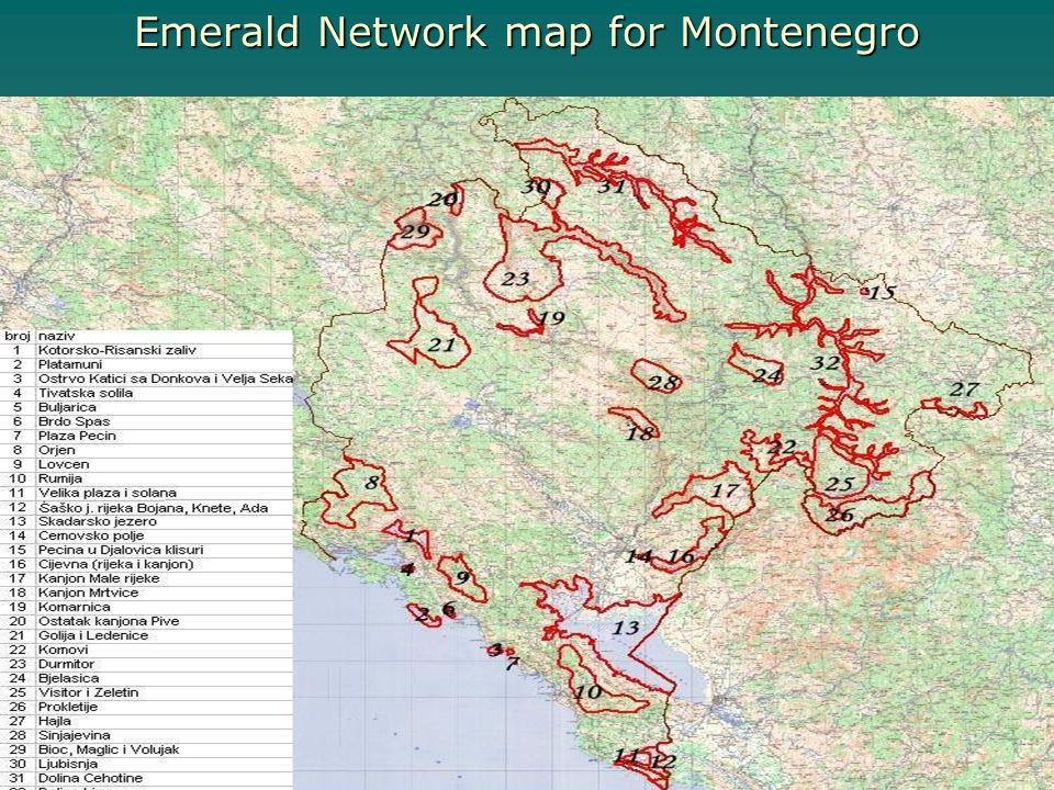 Emerald Network map for Montenegro