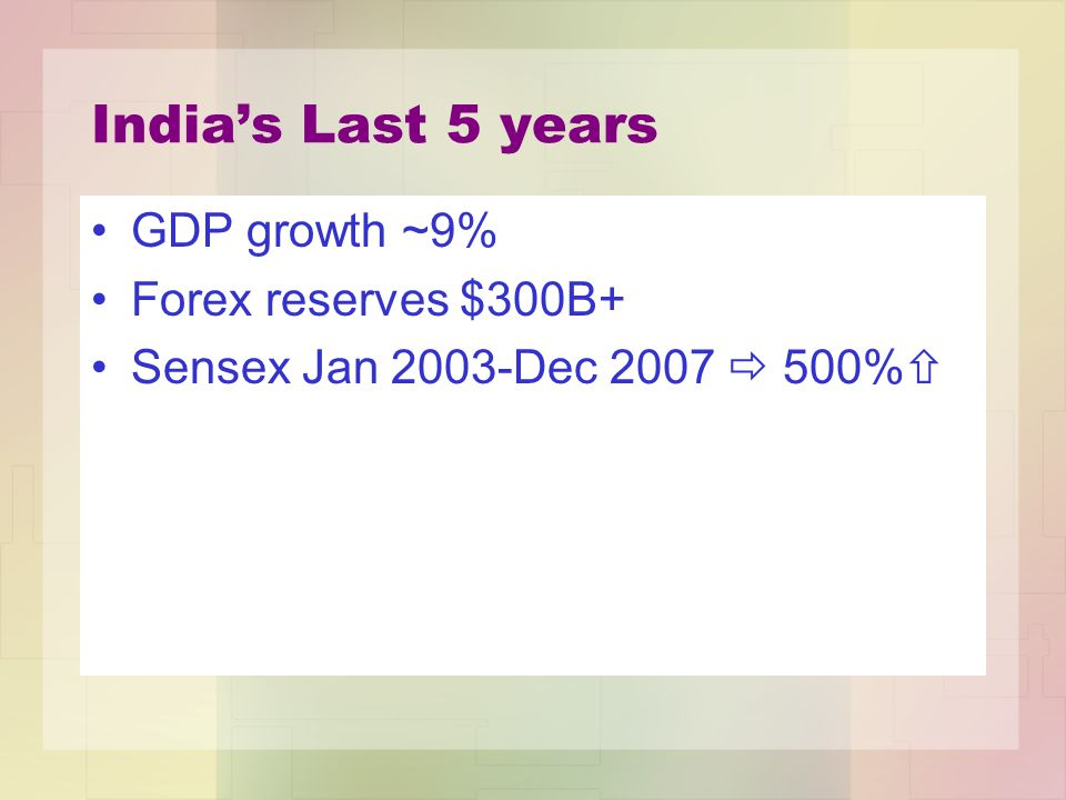 India's Last 5 years GDP growth ~9% Forex reserves $300B+ Sensex Jan 2003-Dec 2007  500% 