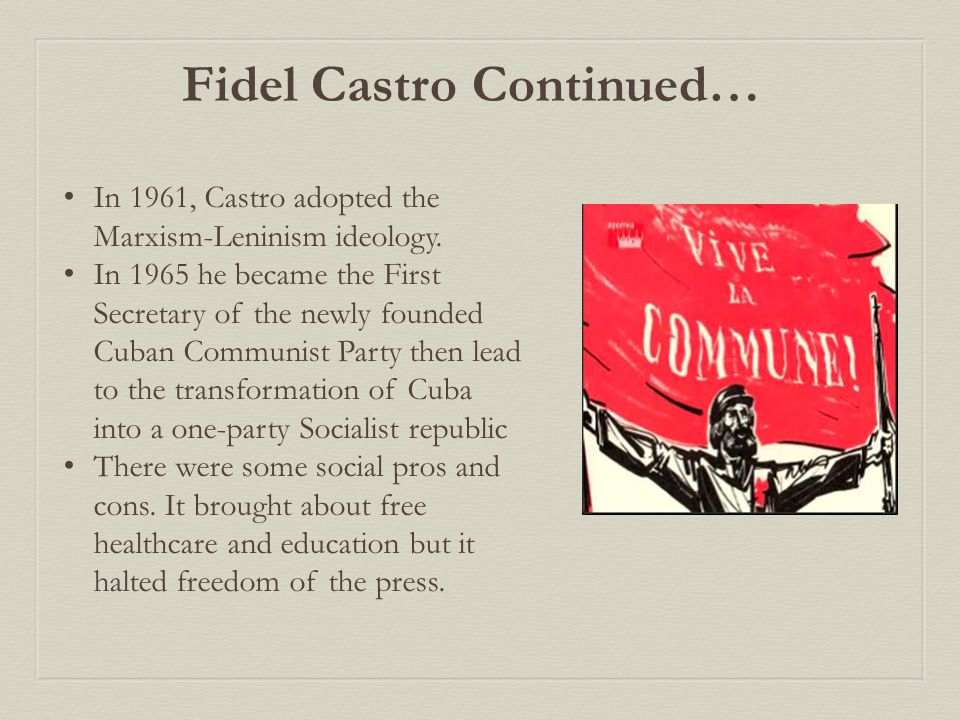 In 1961, Castro adopted the Marxism-Leninism ideology.