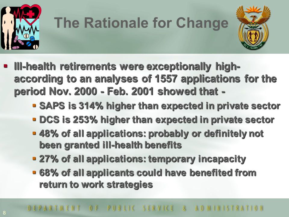 8  Ill-health retirements were exceptionally high- according to an analyses of 1557 applications for the period Nov. 2000 - Feb. 2001 showed that - 