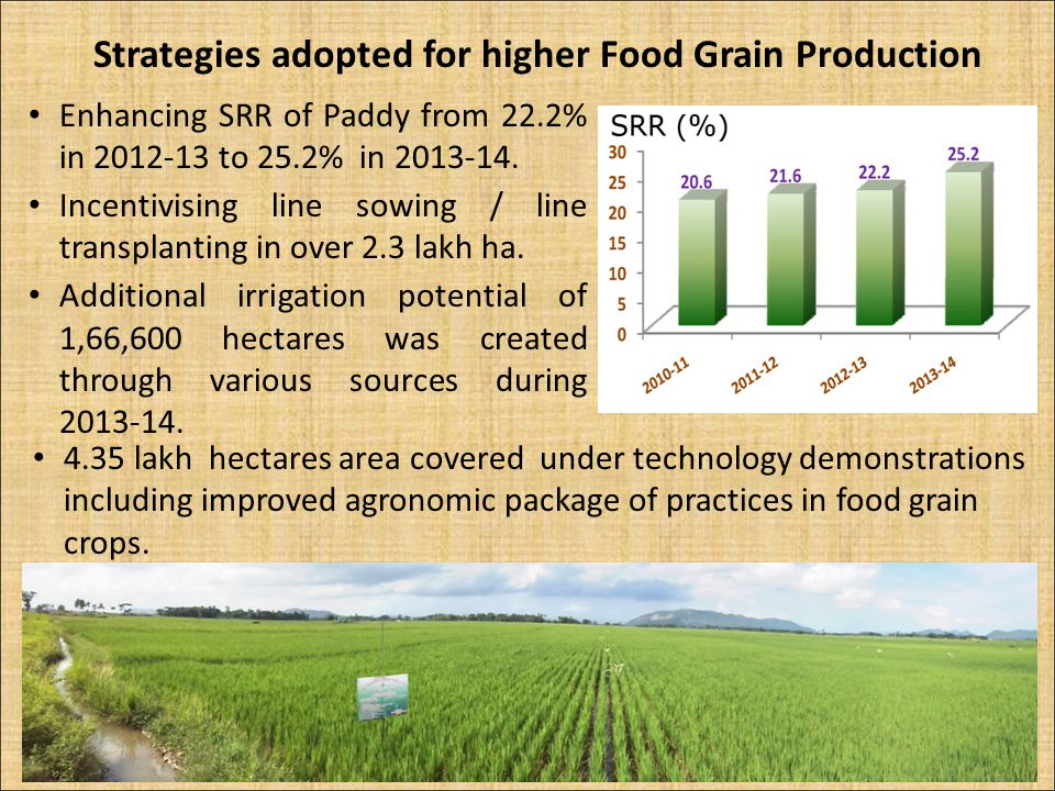 Strategies adopted for higher Food Grain Production Enhancing SRR of Paddy from 22.2% in 2012-13 to 25.2% in 2013-14. Incentivising line sowing / line