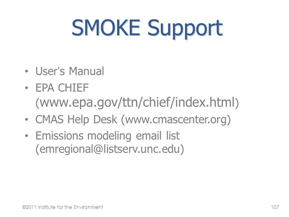 SMOKE Support User's Manual EPA CHIEF ( www.epa.gov/ttn/chief/index.html ) CMAS Help Desk (www.cmascenter.org) Emissions modeling email list (emregion