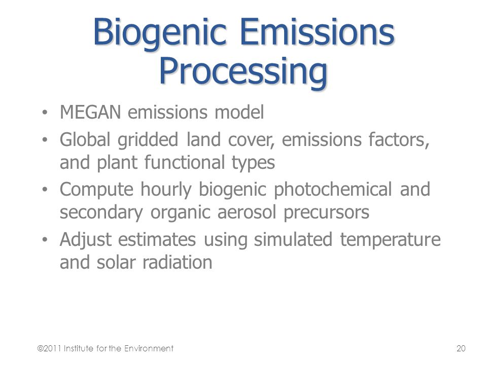 Biogenic Emissions Processing MEGAN emissions model Global gridded land cover, emissions factors, and plant functional types Compute hourly biogenic p
