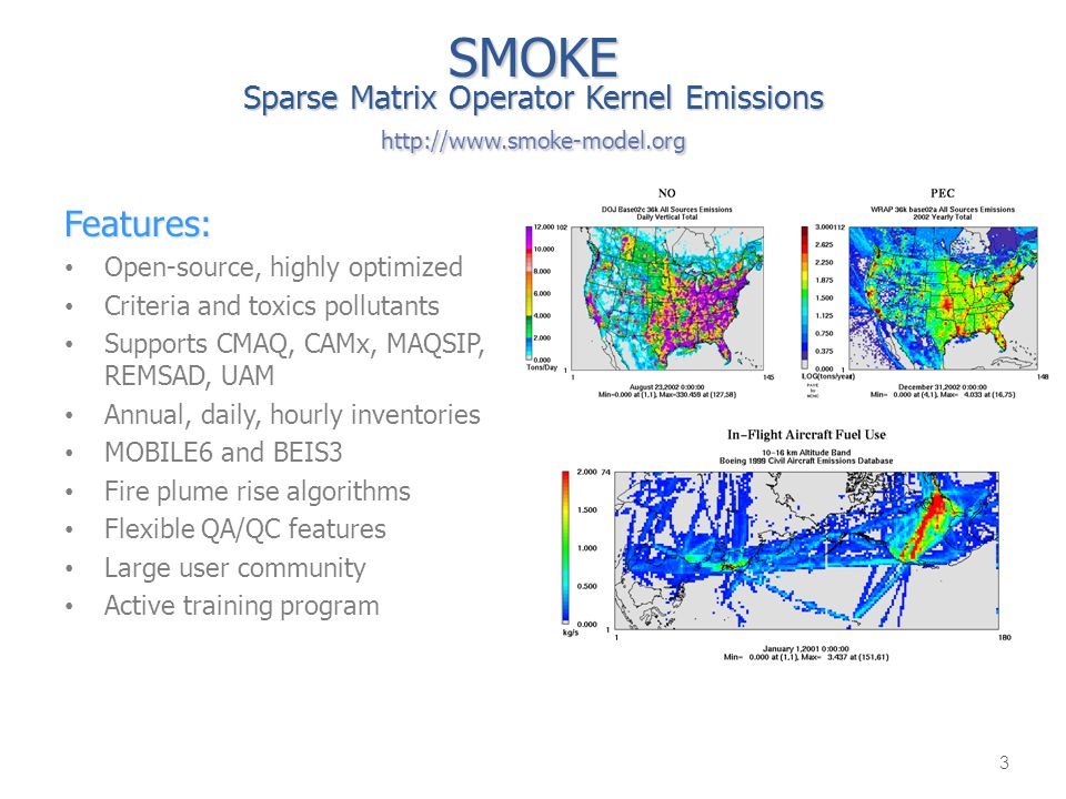 SMOKE Sparse Matrix Operator Kernel Emissions http://www.smoke-model.org Features: Open-source, highly optimized Criteria and toxics pollutants Suppor