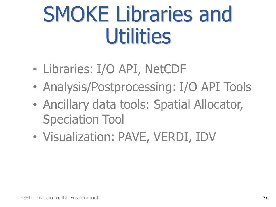 SMOKE Libraries and Utilities Libraries: I/O API, NetCDF Analysis/Postprocessing: I/O API Tools Ancillary data tools: Spatial Allocator, Speciation To