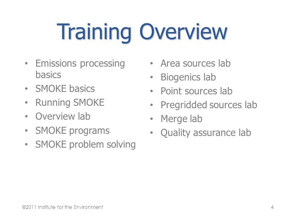 Training Overview Emissions processing basics SMOKE basics Running SMOKE Overview lab SMOKE programs SMOKE problem solving Area sources lab Biogenics