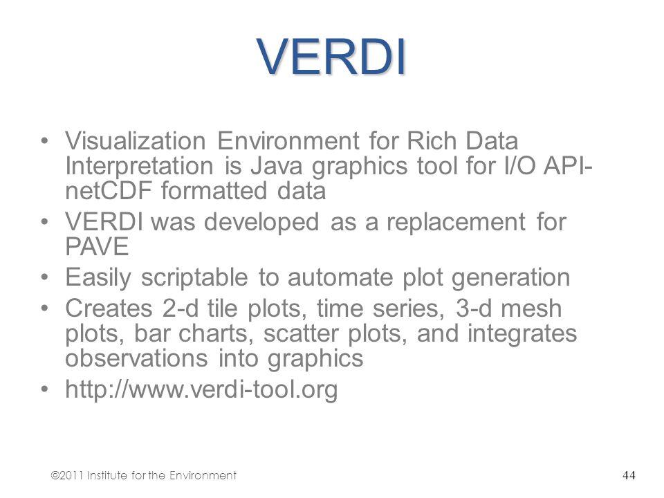 44VERDI Visualization Environment for Rich Data Interpretation is Java graphics tool for I/O API- netCDF formatted data VERDI was developed as a repla