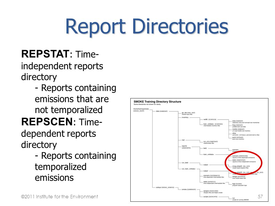 Report Directories REPSTAT : Time- independent reports directory - Reports containing emissions that are not temporalized REPSCEN : Time- dependent re