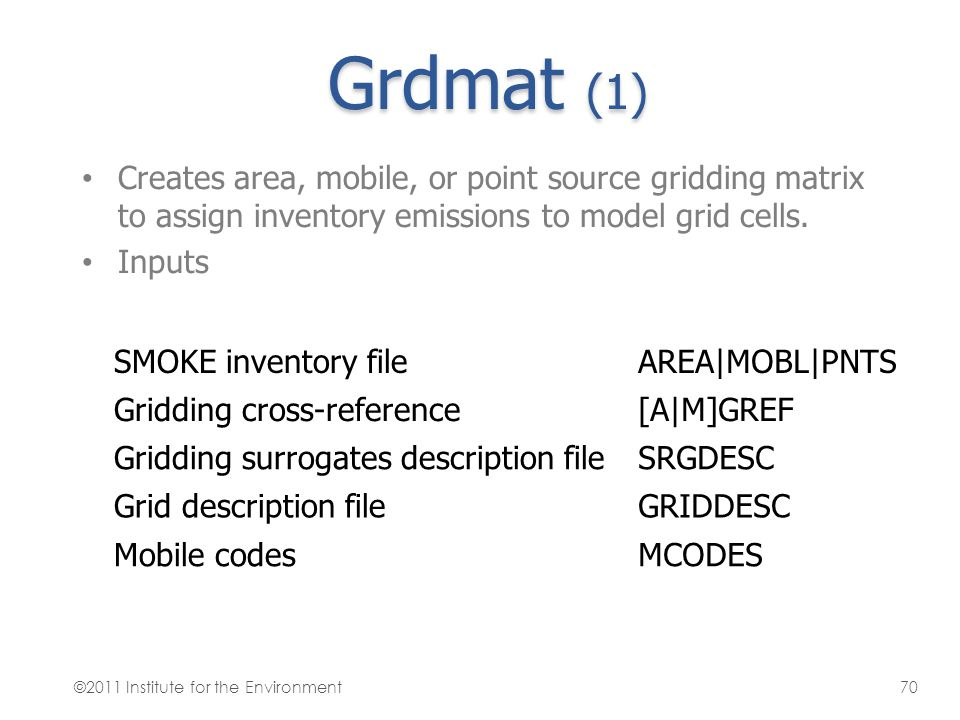 Grdmat (1) Creates area, mobile, or point source gridding matrix to assign inventory emissions to model grid cells. Inputs SMOKE inventory fileAREA MO