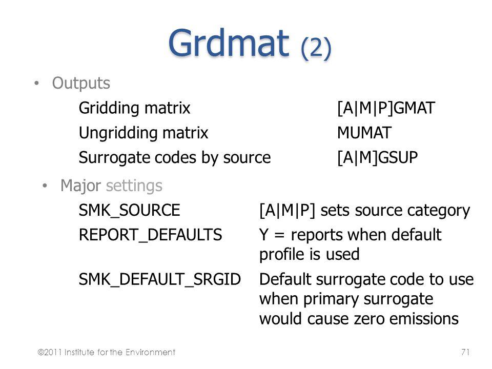 Grdmat (2) Outputs Gridding matrix[A M P]GMAT Ungridding matrixMUMAT Surrogate codes by source[A M]GSUP Major settings SMK_SOURCE[A M P] sets source c