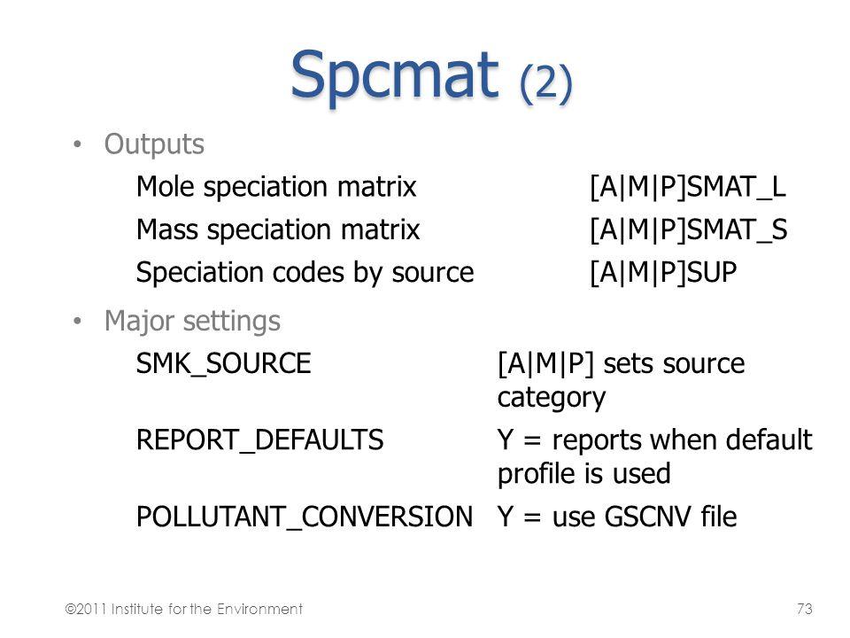 Spcmat (2) Outputs Mole speciation matrix[A M P]SMAT_L Mass speciation matrix[A M P]SMAT_S Speciation codes by source[A M P]SUP Major settings SMK_SOU