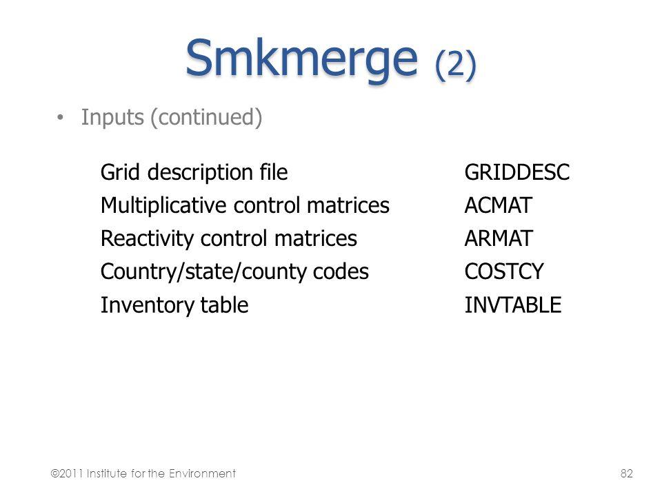 Smkmerge (2) Inputs (continued) Grid description fileGRIDDESC Multiplicative control matricesACMAT Reactivity control matricesARMAT Country/state/coun