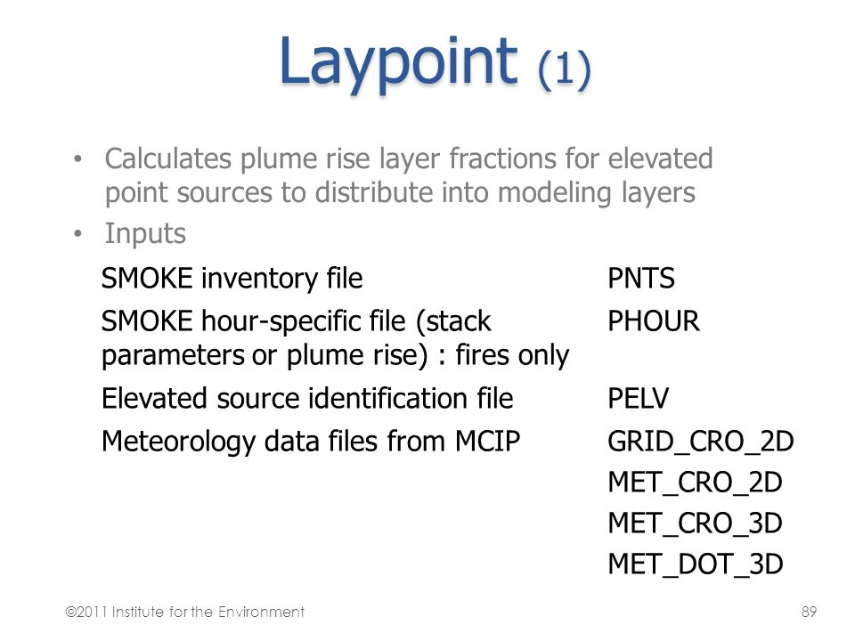 Laypoint (1) Calculates plume rise layer fractions for elevated point sources to distribute into modeling layers Inputs SMOKE inventory filePNTS SMOKE