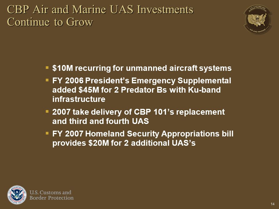 14 CBP Air and Marine UAS Investments Continue to Grow  $10M recurring for unmanned aircraft systems  FY 2006 President's Emergency Supplemental add
