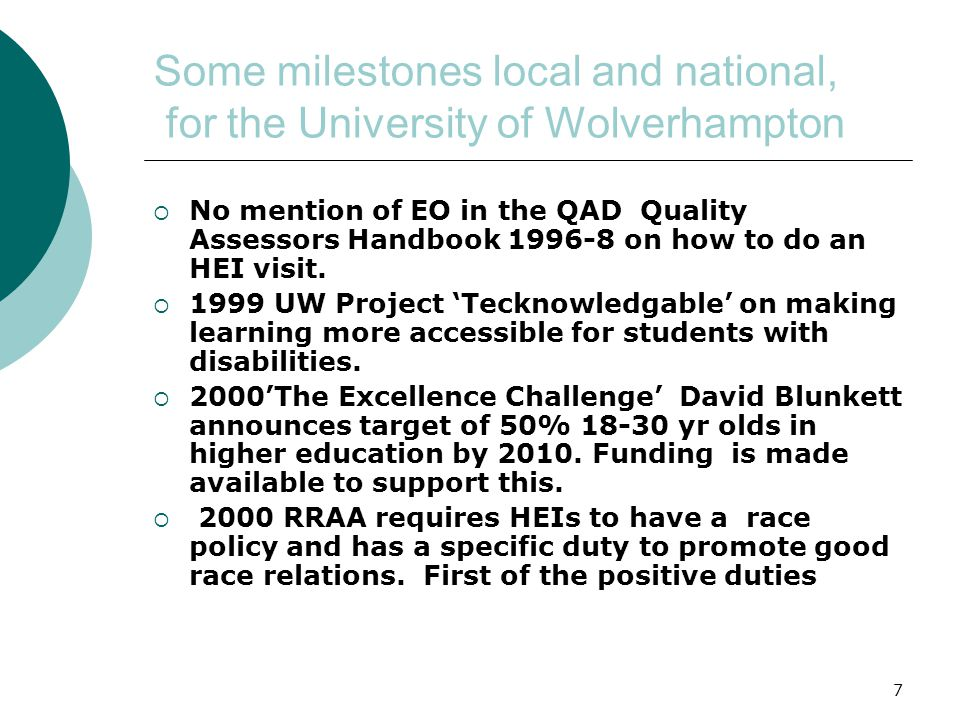 7 Some milestones local and national, for the University of Wolverhampton  No mention of EO in the QAD Quality Assessors Handbook 1996-8 on how to do an HEI visit.