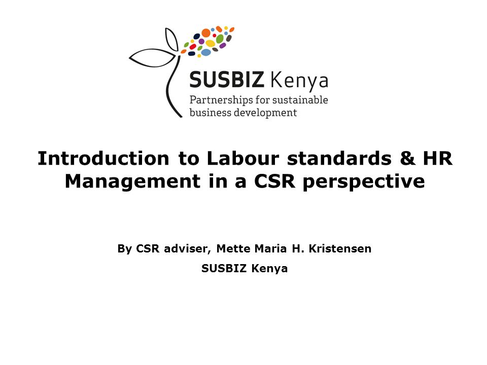 Introduction to Labour standards & HR Management in a CSR perspective By CSR adviser, Mette Maria H.