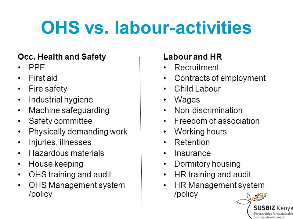 OHS vs. labour-activities Occ.