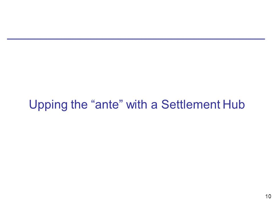 10 Upping the ante with a Settlement Hub