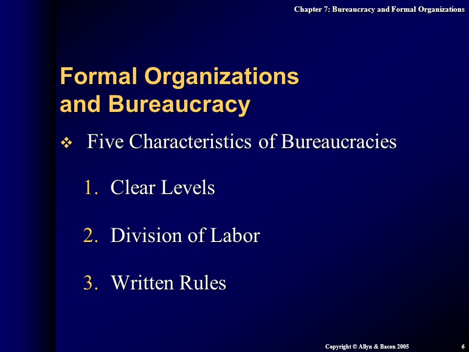 Chapter 7: Bureaucracy and Formal Organizations Copyright © Allyn & Bacon 20056  Five Characteristics of Bureaucracies 1.Clear Levels 2.Division of L