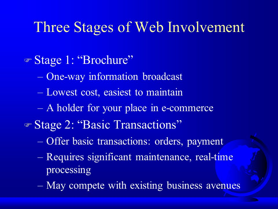 Three Stages of Web Involvement F Stage 1: Brochure –One-way information broadcast –Lowest cost, easiest to maintain –A holder for your place in e-commerce F Stage 2: Basic Transactions –Offer basic transactions: orders, payment –Requires significant maintenance, real-time processing –May compete with existing business avenues