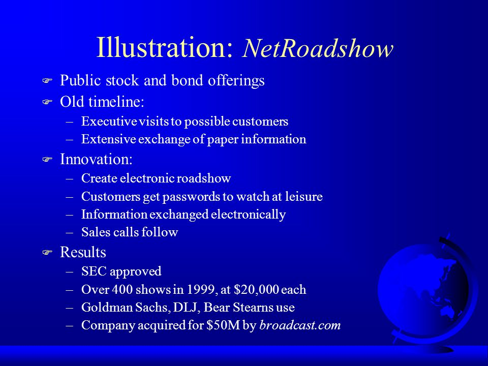Illustration: NetRoadshow F Public stock and bond offerings F Old timeline: –Executive visits to possible customers –Extensive exchange of paper information F Innovation: –Create electronic roadshow –Customers get passwords to watch at leisure –Information exchanged electronically –Sales calls follow F Results –SEC approved –Over 400 shows in 1999, at $20,000 each –Goldman Sachs, DLJ, Bear Stearns use –Company acquired for $50M by broadcast.com