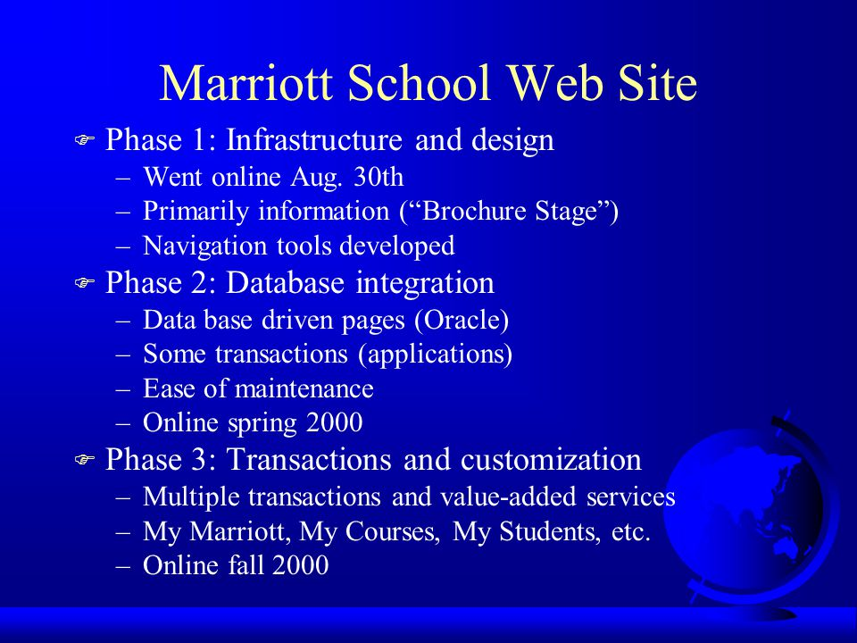 Marriott School Web Site F Phase 1: Infrastructure and design –Went online Aug.