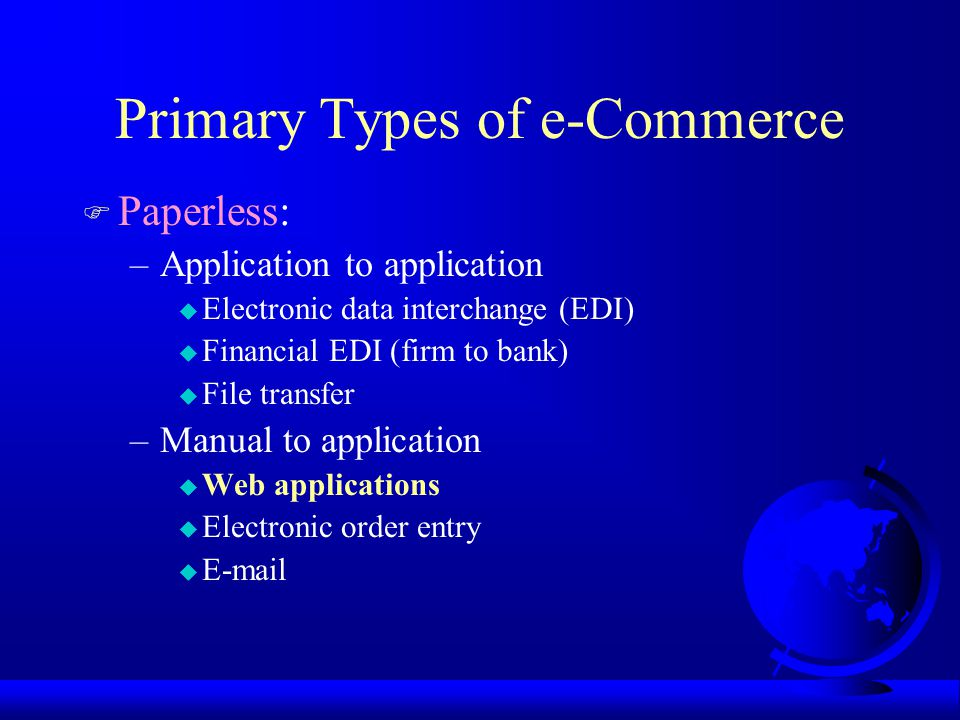 Additional Types of e-Commerce F Physical media assisted by computers: –Facsimile transmission –MICR, OCR, ICR –Bar coding –RF –Voice recognition