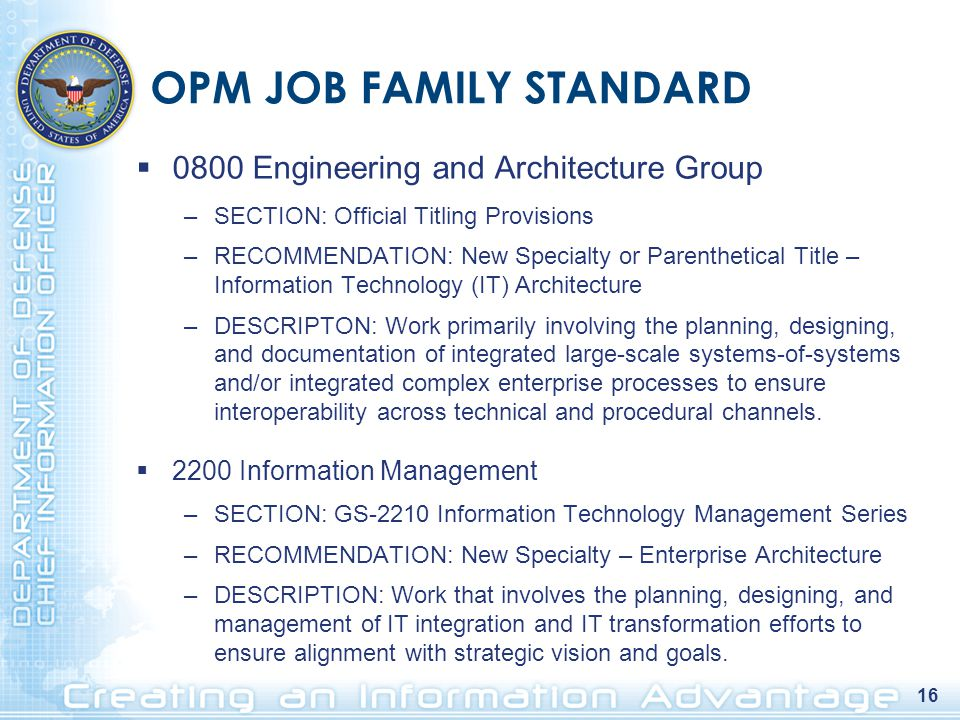 16 OPM JOB FAMILY STANDARD  0800 Engineering and Architecture Group –SECTION: Official Titling Provisions –RECOMMENDATION: New Specialty or Parenthetical Title – Information Technology (IT) Architecture –DESCRIPTON: Work primarily involving the planning, designing, and documentation of integrated large-scale systems-of-systems and/or integrated complex enterprise processes to ensure interoperability across technical and procedural channels.