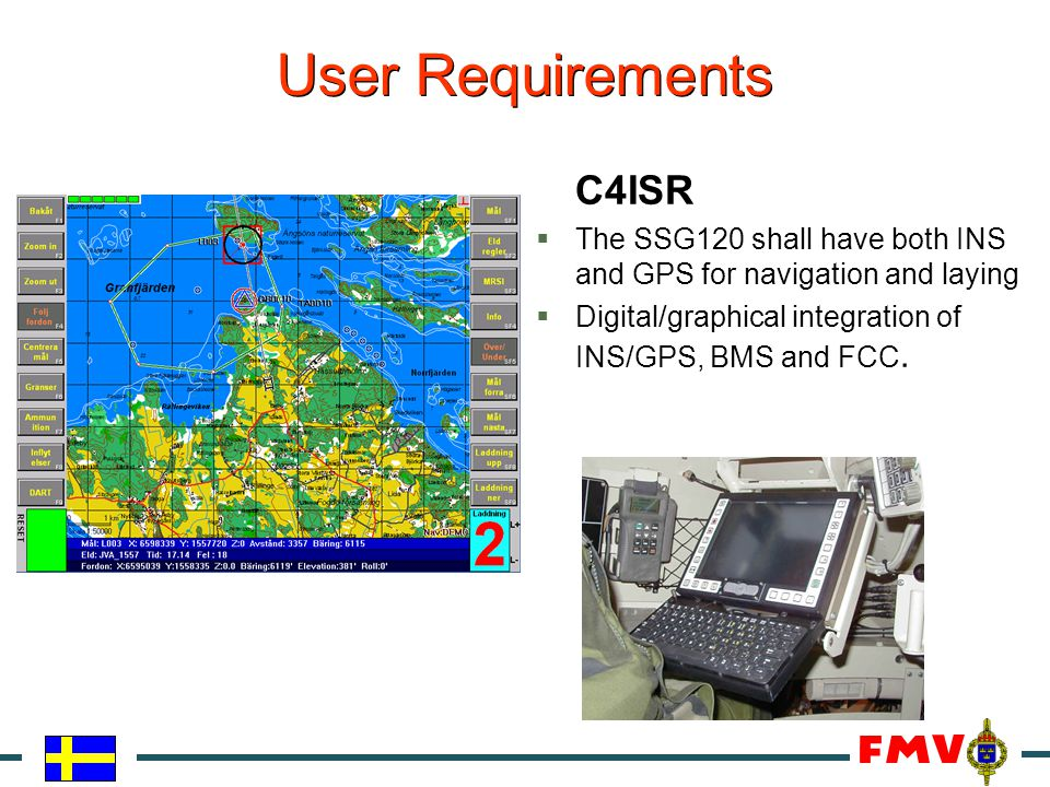 C4ISR  The SSG120 shall have both INS and GPS for navigation and laying  Digital/graphical integration of INS/GPS, BMS and FCC.