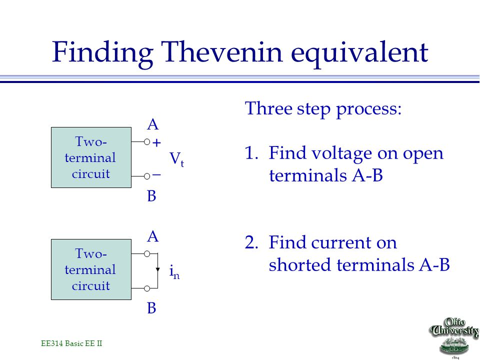 EE314 Basic EE II Finding Thevenin equivalent Three step process: 1.Find voltage on open terminals A-B 2.Find current on shorted terminals A-B Two- terminal circuit A B + _ VtVt Two- terminal circuit A B inin
