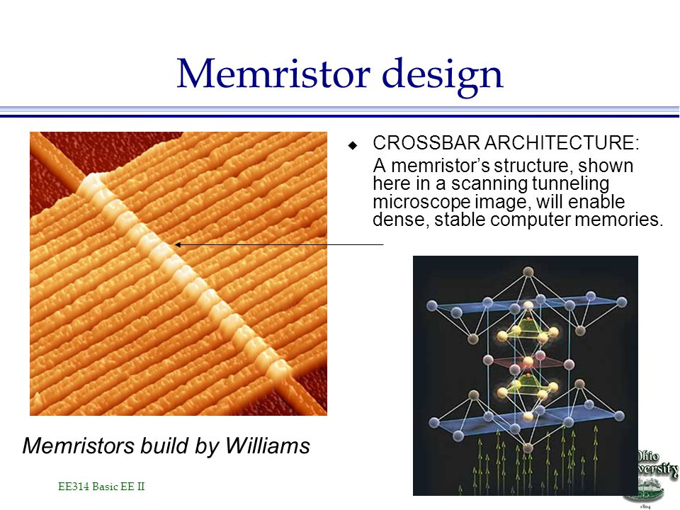 EE314 Basic EE II  CROSSBAR ARCHITECTURE: A memristor's structure, shown here in a scanning tunneling microscope image, will enable dense, stable computer memories.
