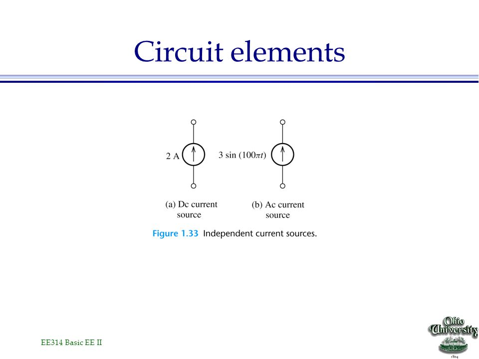EE314 Basic EE II Circuit elements