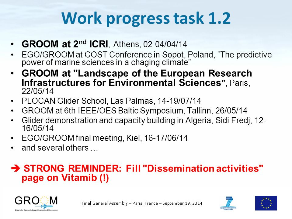 Work progress task 1.2: Brochure and Gliderport booklet Extensive distribution of the brochure by the coordinator (OI 14, ICRI, …) + pencils + T-shirts And by the partners (!)  STRONG REMINDER to all to continue  Be reactive to Daniel and Jelto s solicitations for the booklet