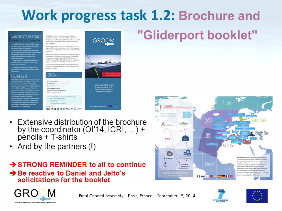 Work progress task 1.2: Brochure and Gliderport booklet Extensive distribution of the brochure by the coordinator (OI 14, ICRI, …) + pencils + T-shirts And by the partners (!)  STRONG REMINDER to all to continue  Be reactive to Daniel and Jelto s solicitations for the booklet