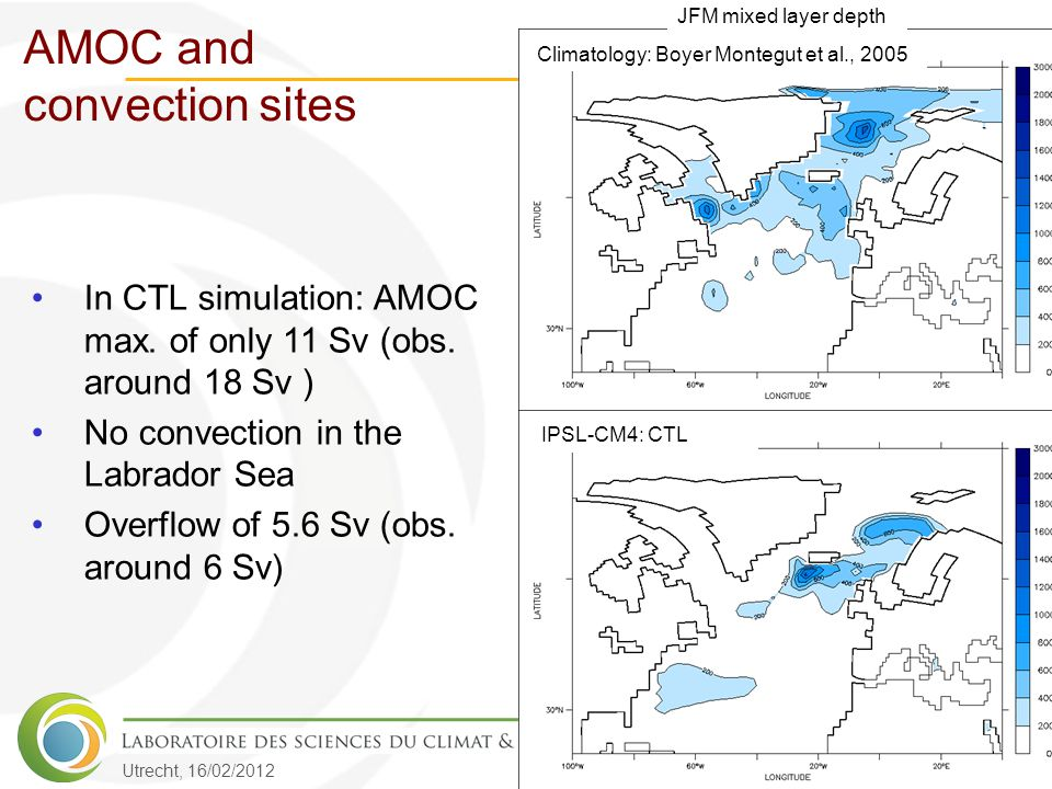 Utrecht, 16/02/2012 AMOC and convection sites Climatology: Boyer Montegut et al., 2005IPSL-CM4: CTL In CTL simulation: AMOC max. of only 11 Sv (obs. a