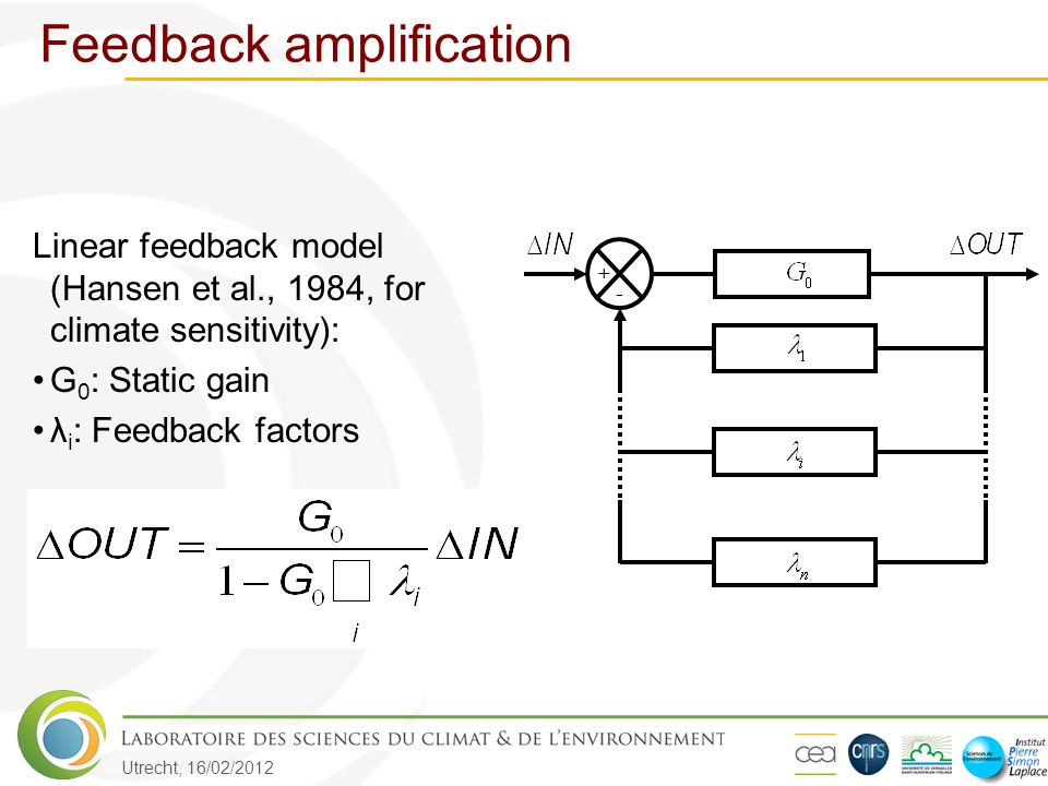 Utrecht, 16/02/2012 Feedback amplification Linear feedback model (Hansen et al., 1984, for climate sensitivity): G 0 : Static gain λ i : Feedback fact