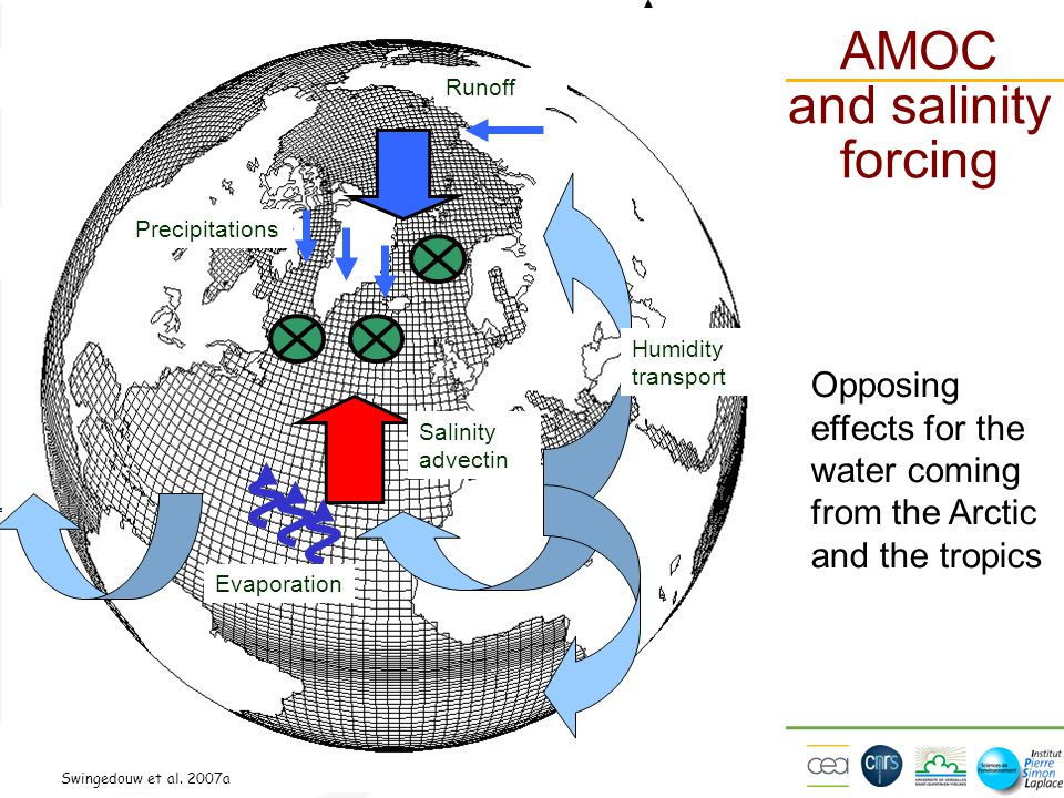 Utrecht, 16/02/2012 ActuelFutur Opposing effects for the water coming from the Arctic and the tropics AMOC and salinity forcing Swingedouw et al. 2007