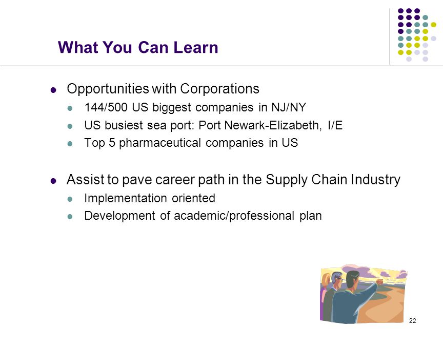 22 What You Can Learn Opportunities with Corporations 144/500 US biggest companies in NJ/NY US busiest sea port: Port Newark-Elizabeth, I/E Top 5 pharmaceutical companies in US Assist to pave career path in the Supply Chain Industry Implementation oriented Development of academic/professional plan
