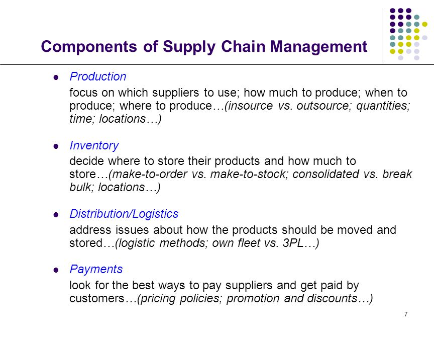 7 Components of Supply Chain Management Production focus on which suppliers to use; how much to produce; when to produce; where to produce…(insource v