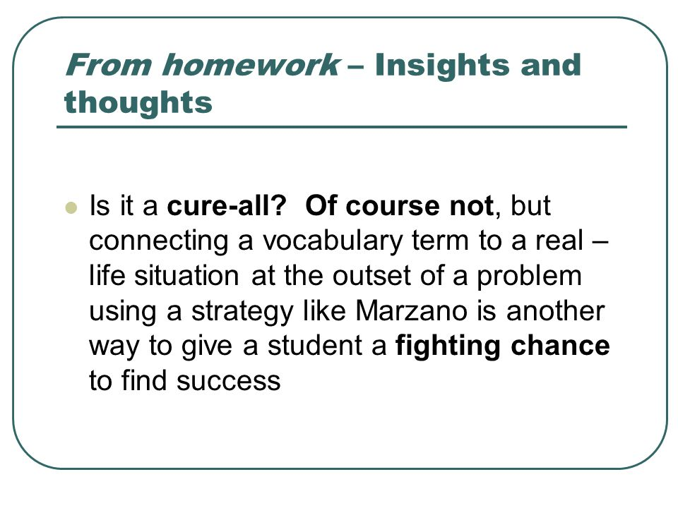 From homework – Insights and thoughts Is it a cure-all.