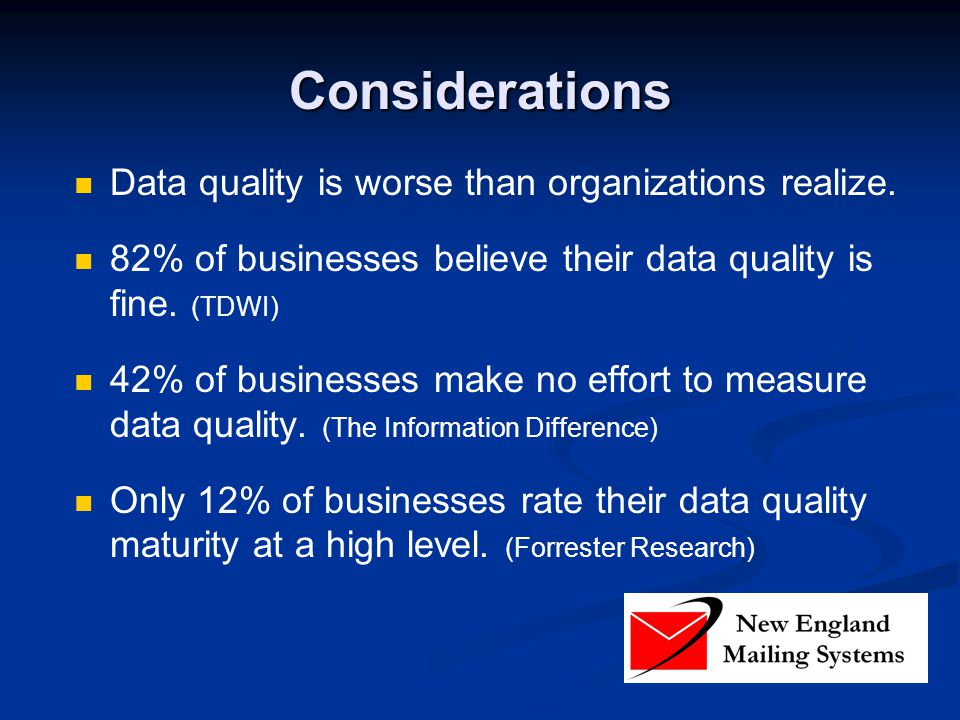 Considerations Data quality is worse than organizations realize. 82% of businesses believe their data quality is fine. (TDWI) 42% of businesses make n