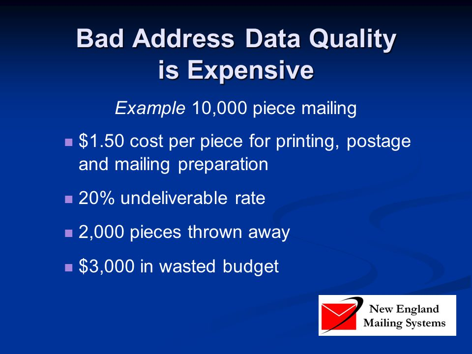 Bad Address Data Quality is Expensive Example 10,000 piece mailing $1.50 cost per piece for printing, postage and mailing preparation 20% undeliverable rate 2,000 pieces thrown away $3,000 in wasted budget