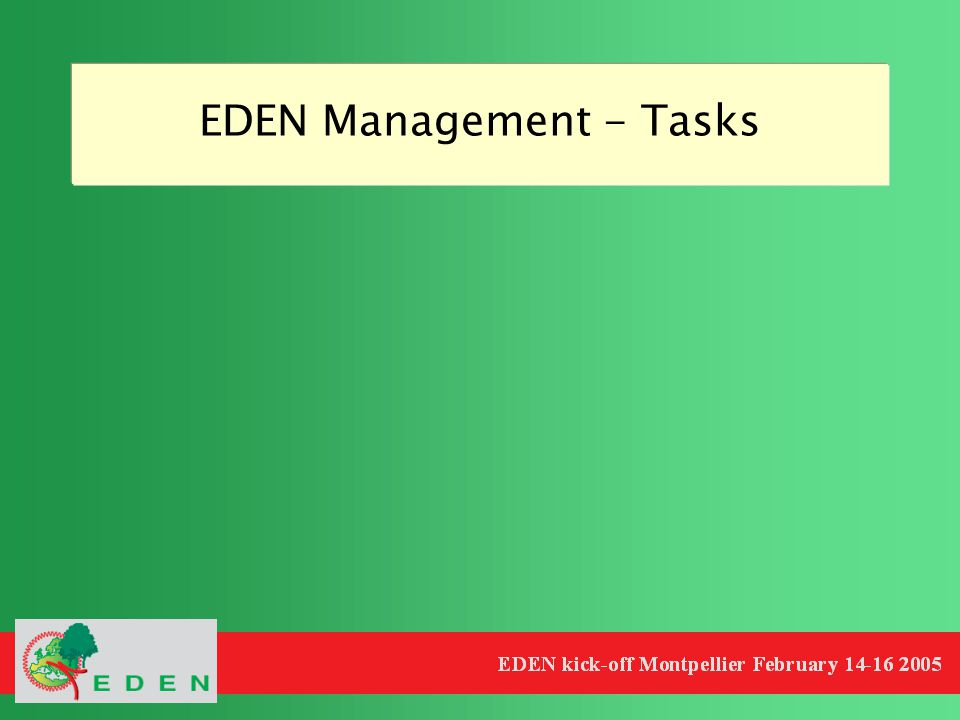 EDEN Management - Tasks