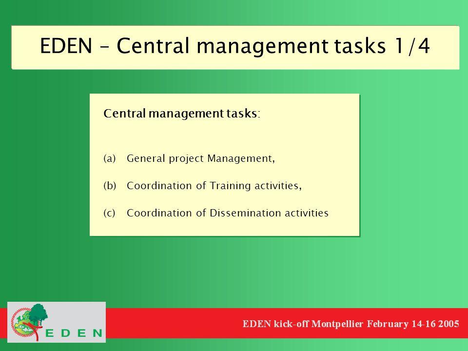 EDEN – Central management tasks 1/4 Central management tasks: (a)General project Management, (b)Coordination of Training activities, (c)Coordination o
